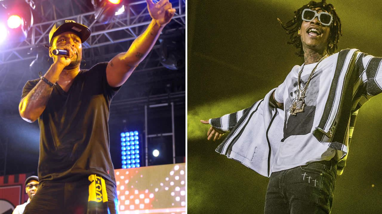 Clifford Smith, aka Method Man, of Wu-Tang Clan performs at the 2013 Coachella Festival (left) and Wiz Khalifa performs at the Okeechobee Music and Arts Festival (right) (AP Photo)