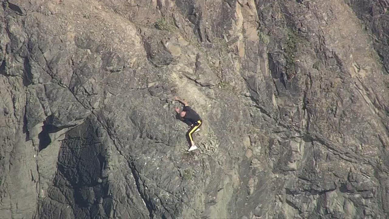 A man was found dangling off a cliff near San Franciscos China Beach on Friday, April 21, 2017.