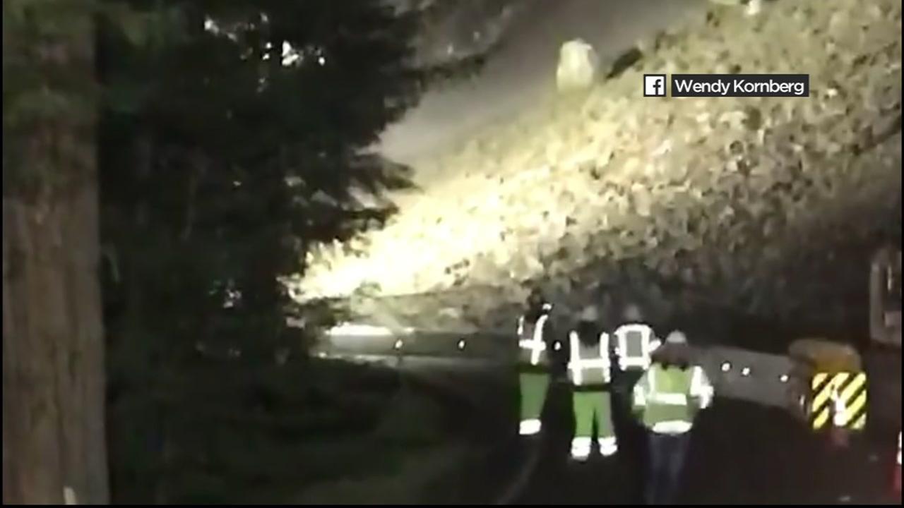 Landslide in Leggett, California, Tuesday, April 26, 2017.