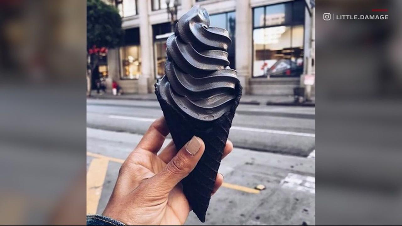 Almond-charcoal flavored soft serve from the Little Damage Ice Cream shop in Los Angeles, Calif. is seen in this undated image.