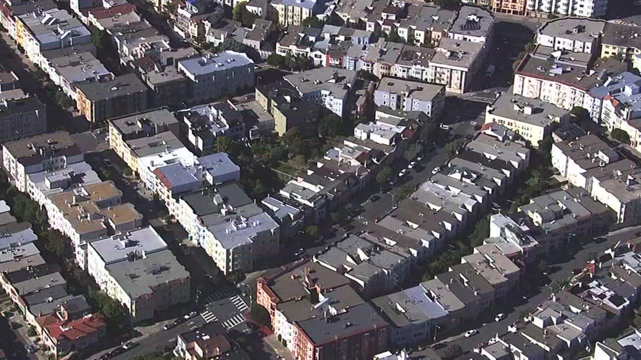 This aerial image shows homes in San Franciscos Marina District on May 3, 2017.