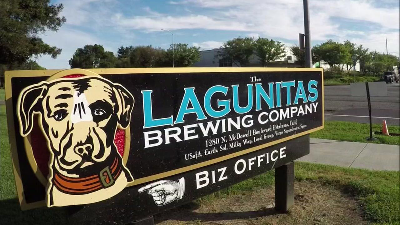 A sign appears outside the Lagunitas Brewing Company on Wednesday, April 5, 2017.