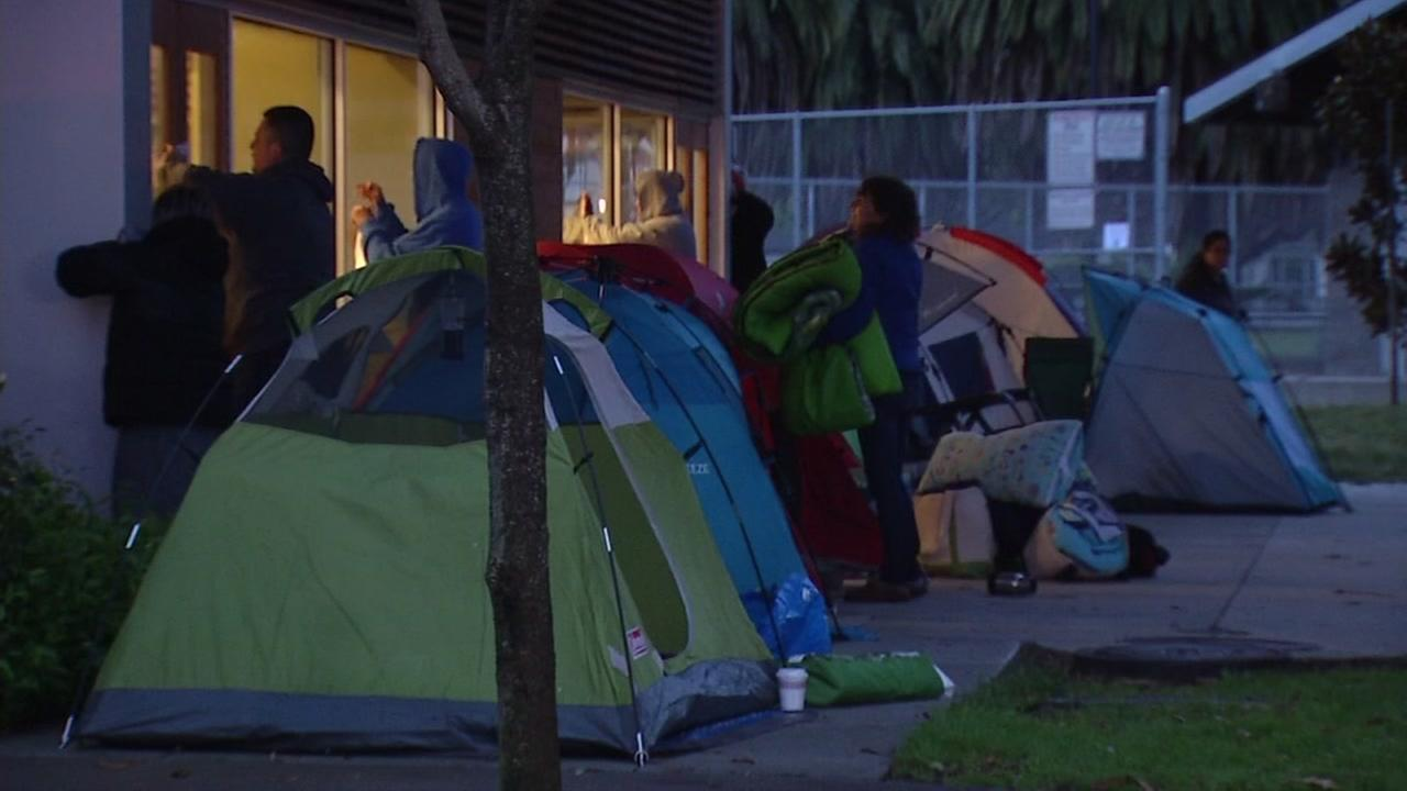 Parents camp out for spots in child care program in South San Francisco, Friday, May 5, 2017.