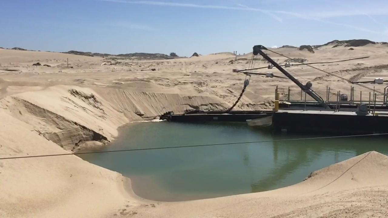 Massive amounts of sand were removed from the Monterey Bay beach in this photo taken on Monday, May 8, 2017.
