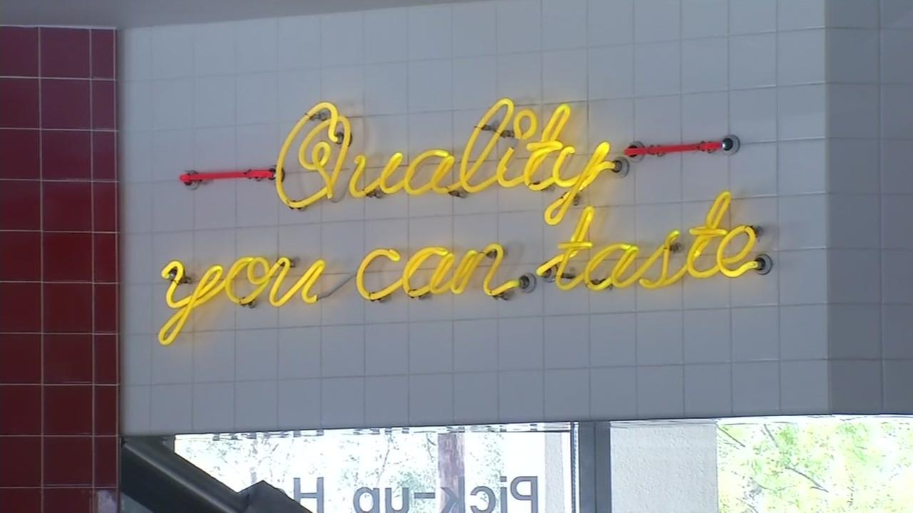 A neon sign inside the Livermore, Calif. In-N-Out restaurant reads quality you can taste, on Wednesday, May 10, 2017.