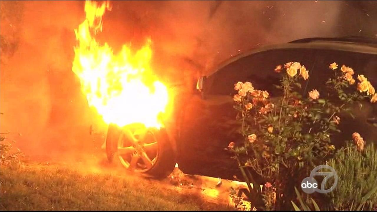 This is an undated image of a car fire police say was intentional in Contra Costa County, Calif.