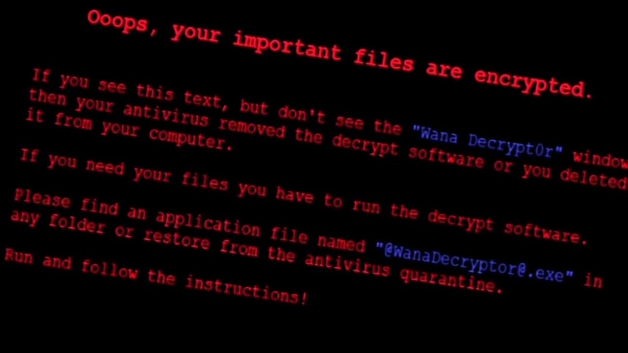 This is an undated image of a message that appeared in a global cyber attack Friday, May 12, 2017.