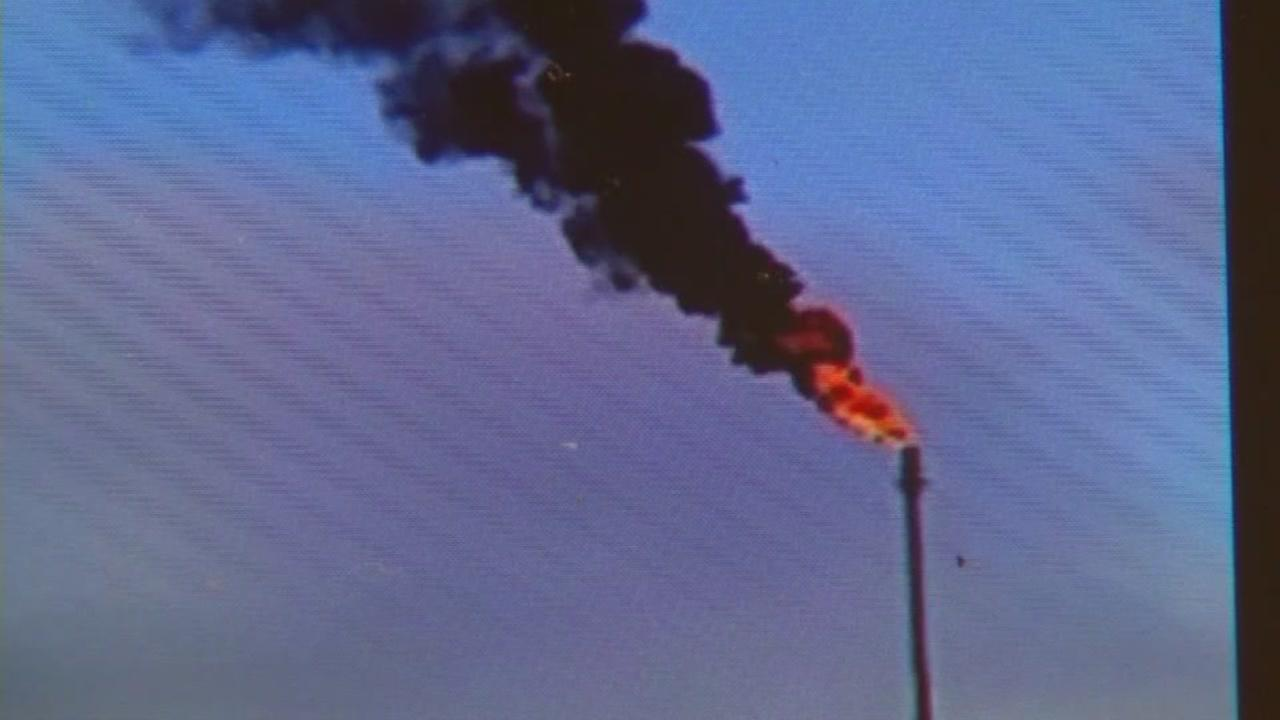 This is an undated image of flaring at the Valero Refinery in Benicia, Calif.