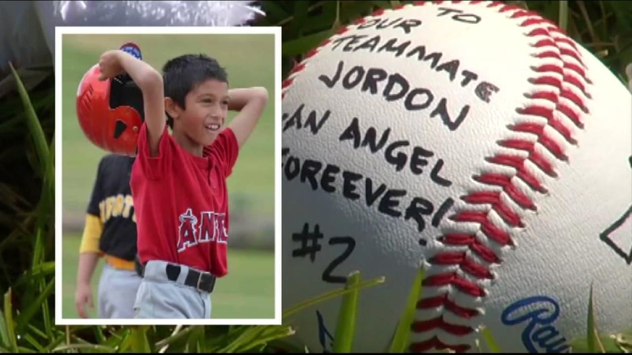 This is an undated split image of Jordan Almgren and a tribute baseball.