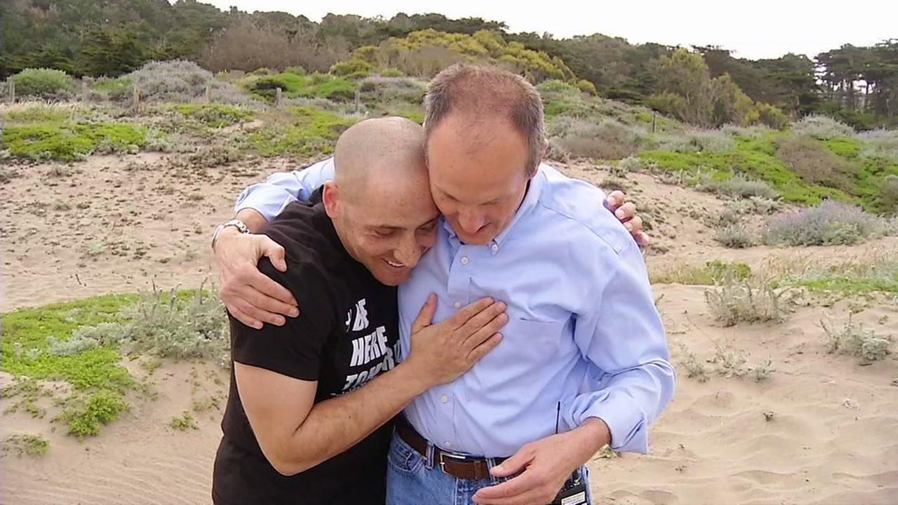 Kevin Hines and Ken Baldwin appear in this undated image near the Golden Gate Bridge.