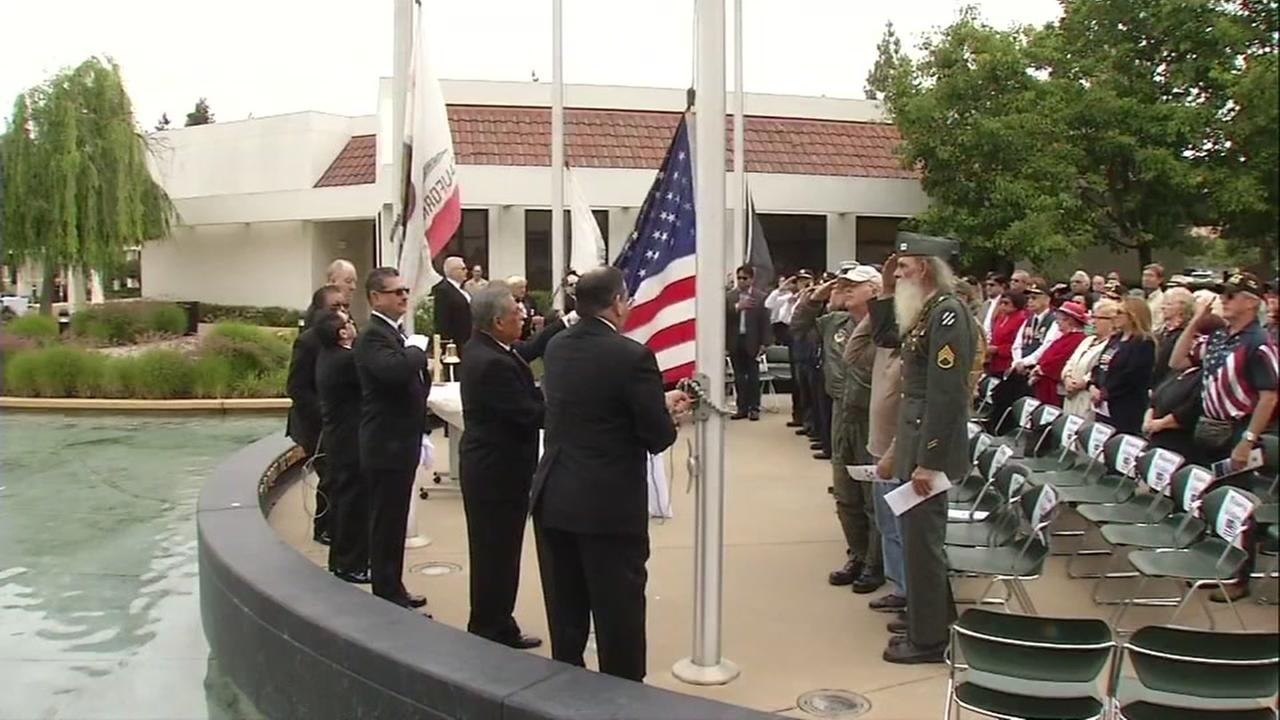 A Memorial Day ceremony is seen in Milpitas, Calif. on Monday, May 29, 2017.