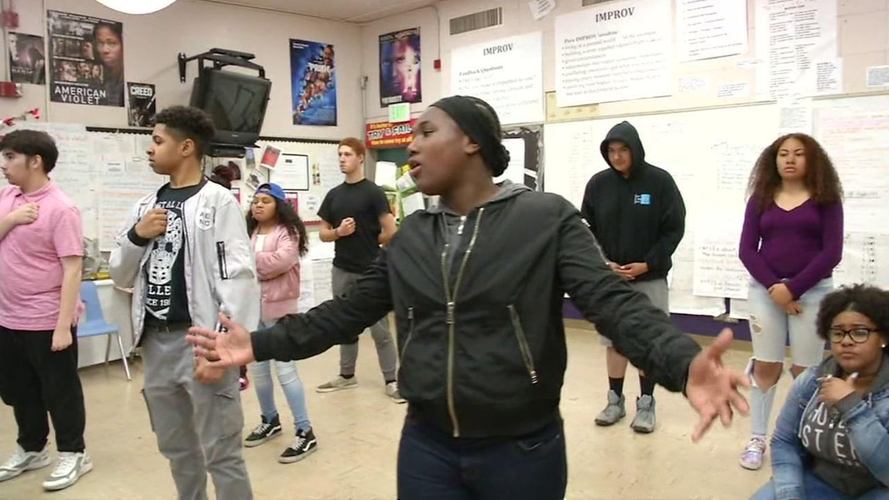 Skyline High School drama students are seen in class in this undated image.