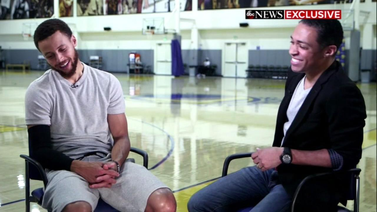 Warriors star Stephen Curry is seen in this undated image during an interview for Good Morning America.
