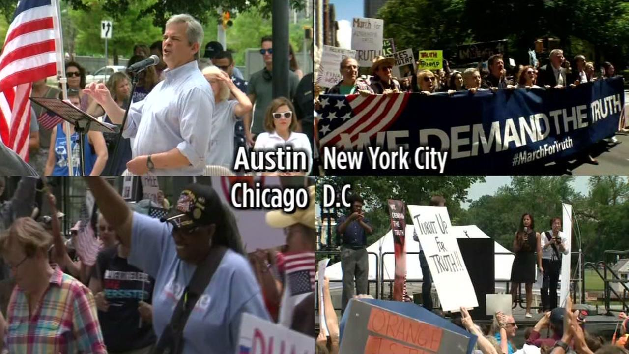 Protests across the U.S. against President Donald Trump are seen on Saturday, June 3, 2017.