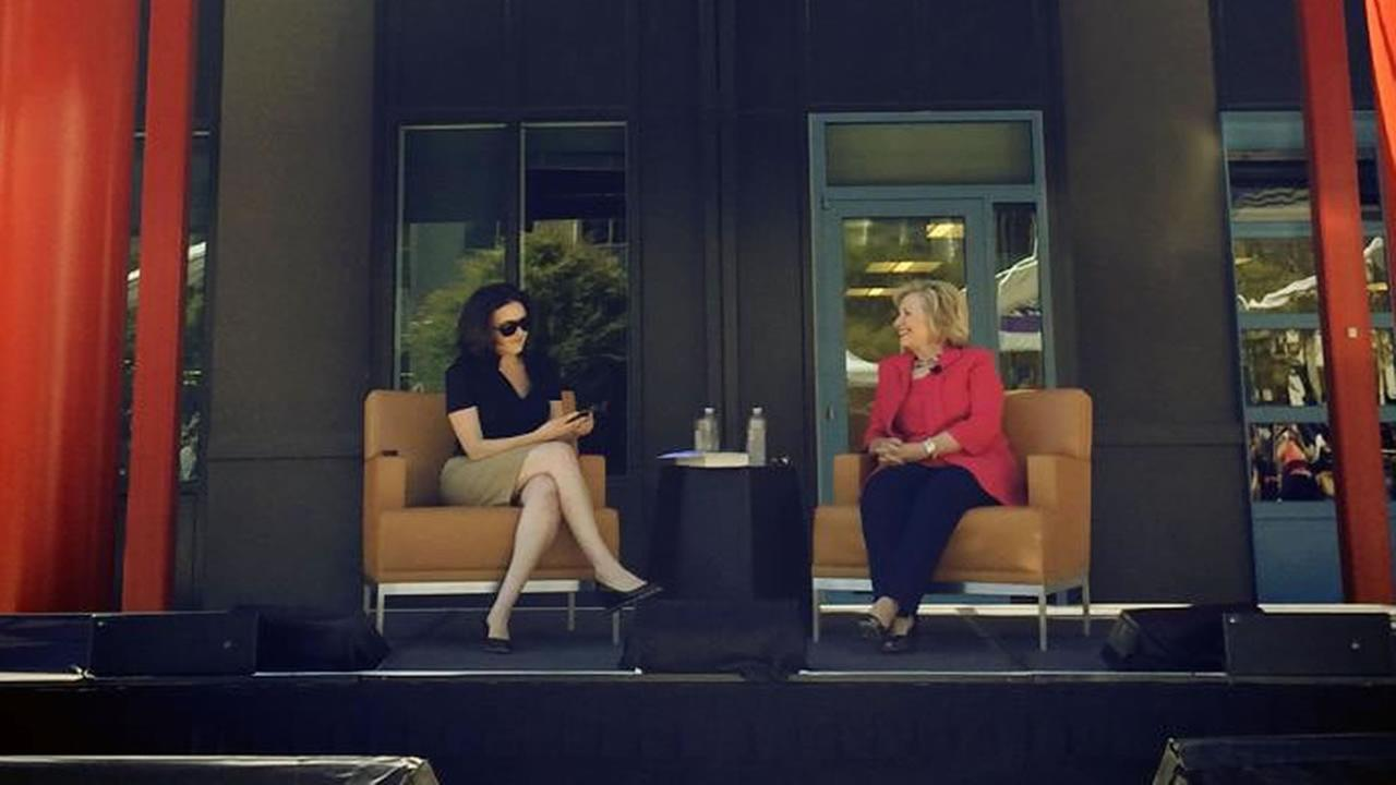 Former Secretary of State Hillary Clinton visited Bay Area tech companies on Monday.