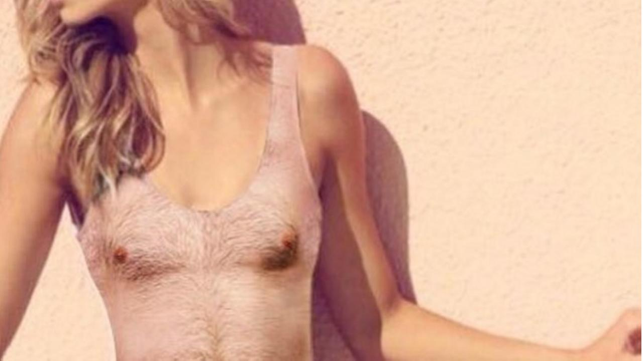 A swimsuit that looks like a hairy mans upper body is seen in this undated image.