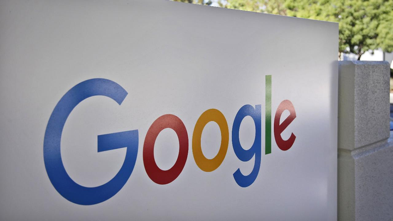 FILE - This Oct. 20, 2015, file photo, shows a sign outside Google headquarters in Mountain View, Calif. (AP Photo/Marcio Jose Sanchez, File)