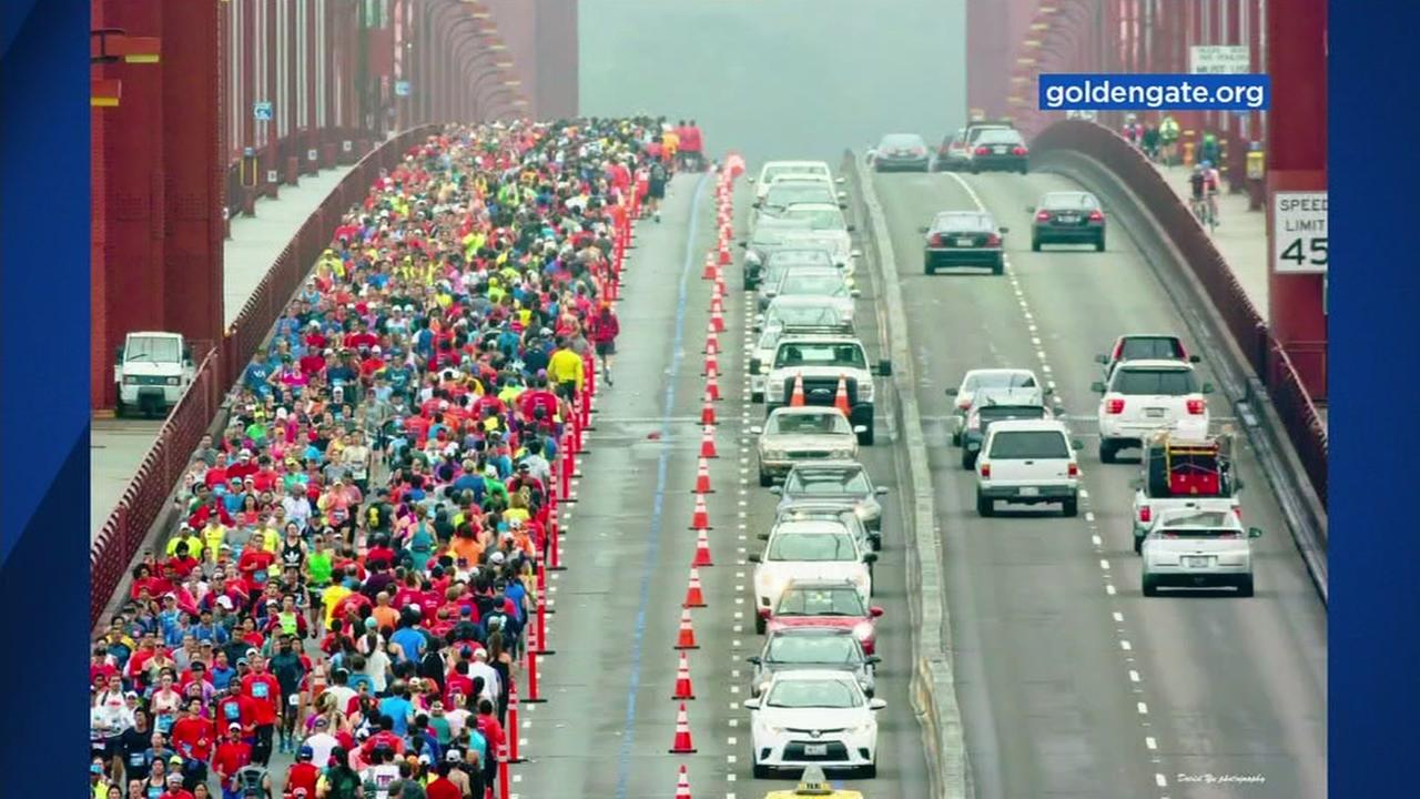 This is an undated image of the Golden Gate Bridge during the San Francisco Marathon.