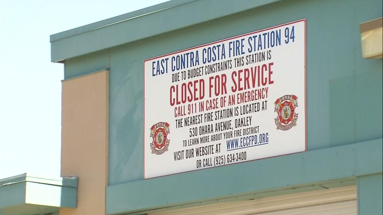 This is an undated image of a sign on a fire station in Knightsen, Calif. indicating a closure.