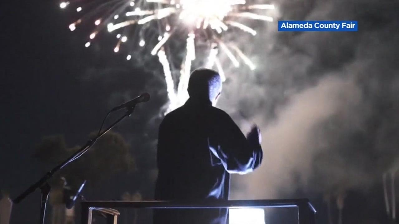 A Fourth of July fireworks show is seen in Pleasanton, Calif. in this image provided by the Alameda County Fair.