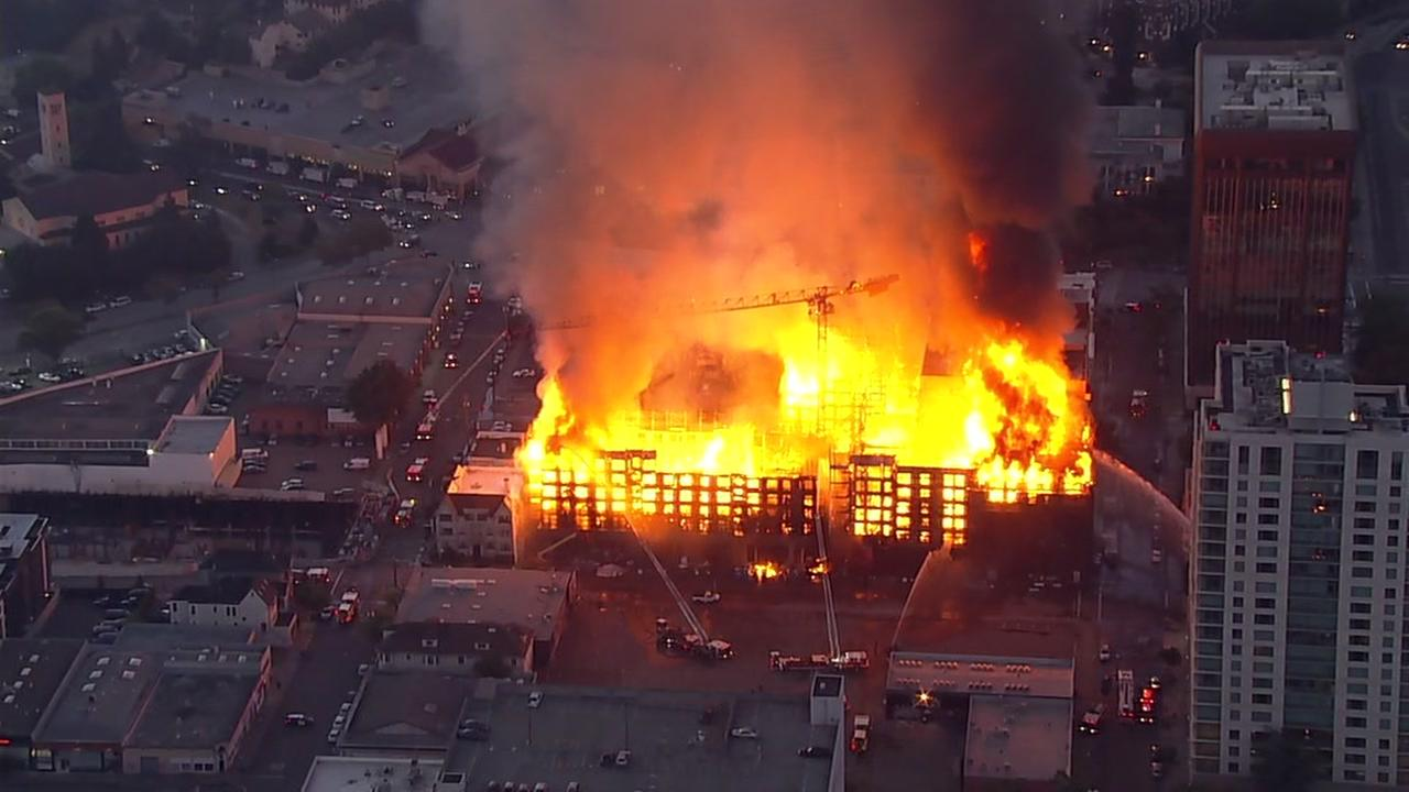 Sky7 was over a massive fire in Uptown Oakland, Calif. on Friday, July 7, 2017.