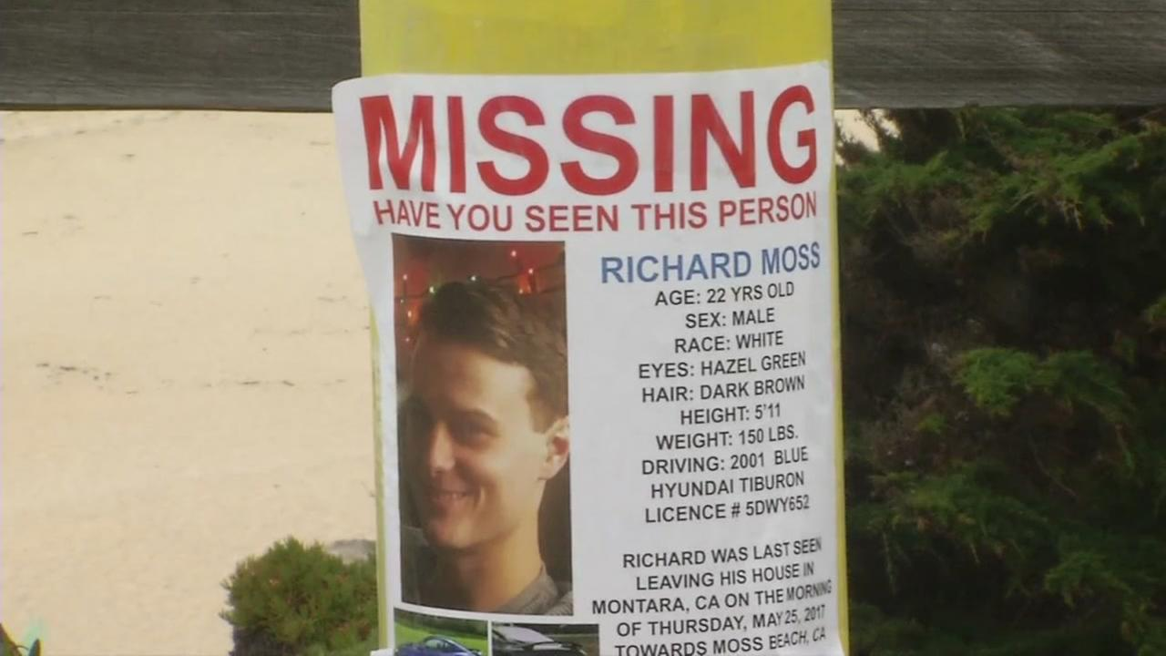 Richard Moss missing poster appears at Montara State Beach on Monday, June 10, 2017.