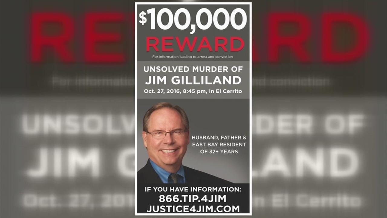 This is an undated image of a reward flyer for murdered attorney Jim Gilligan.