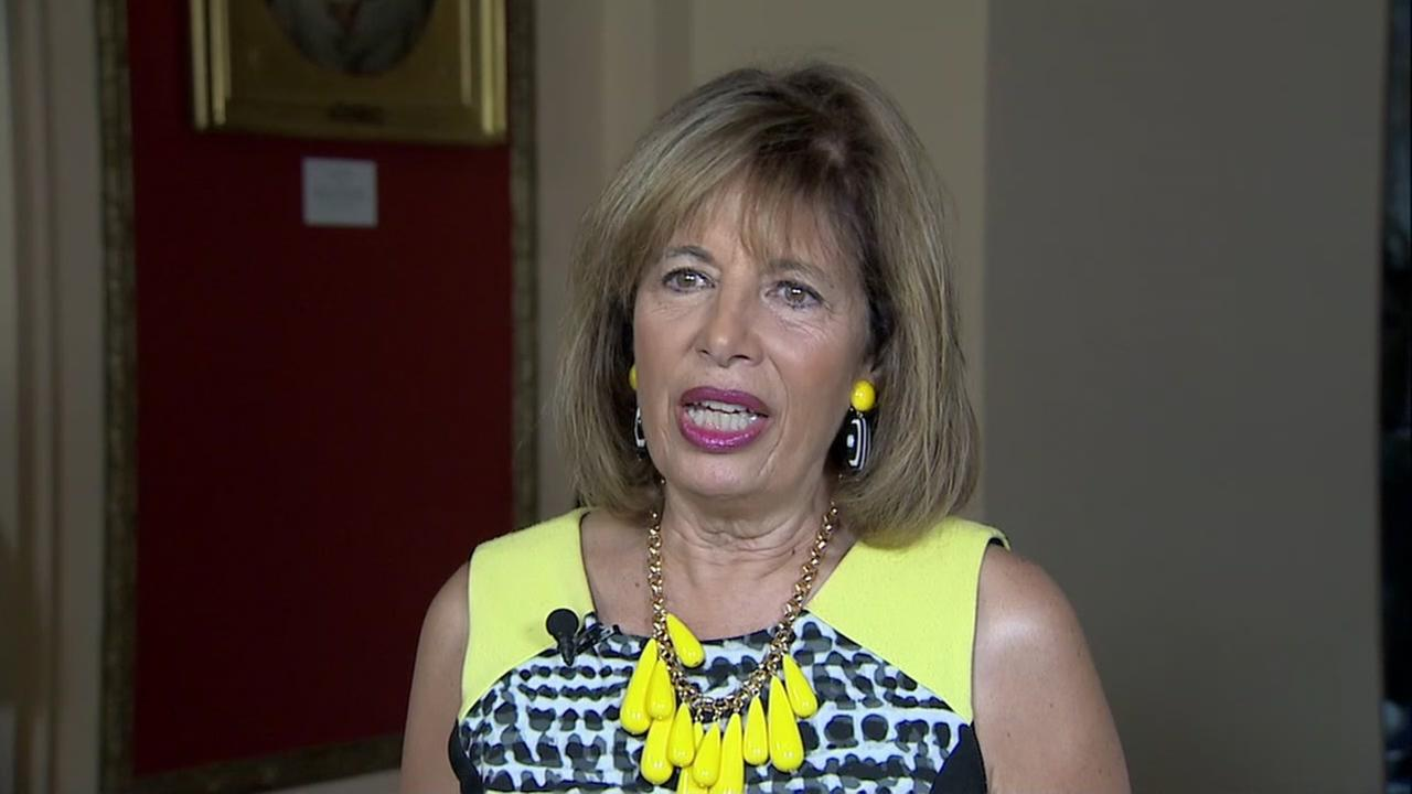 Representative Jackie Speier wears a sleeveless dress in protest on Friday, July 14, 2017.
