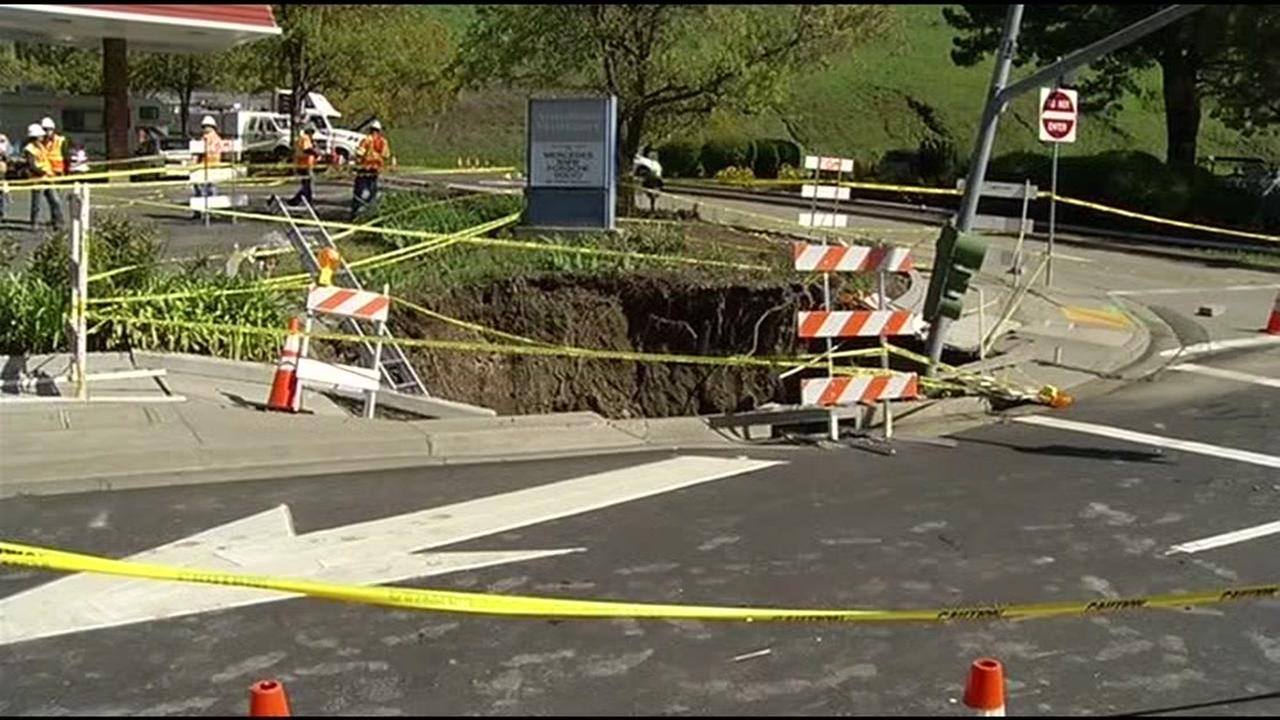A sinkhole is seen in Moraga, Calif. in this undated image.