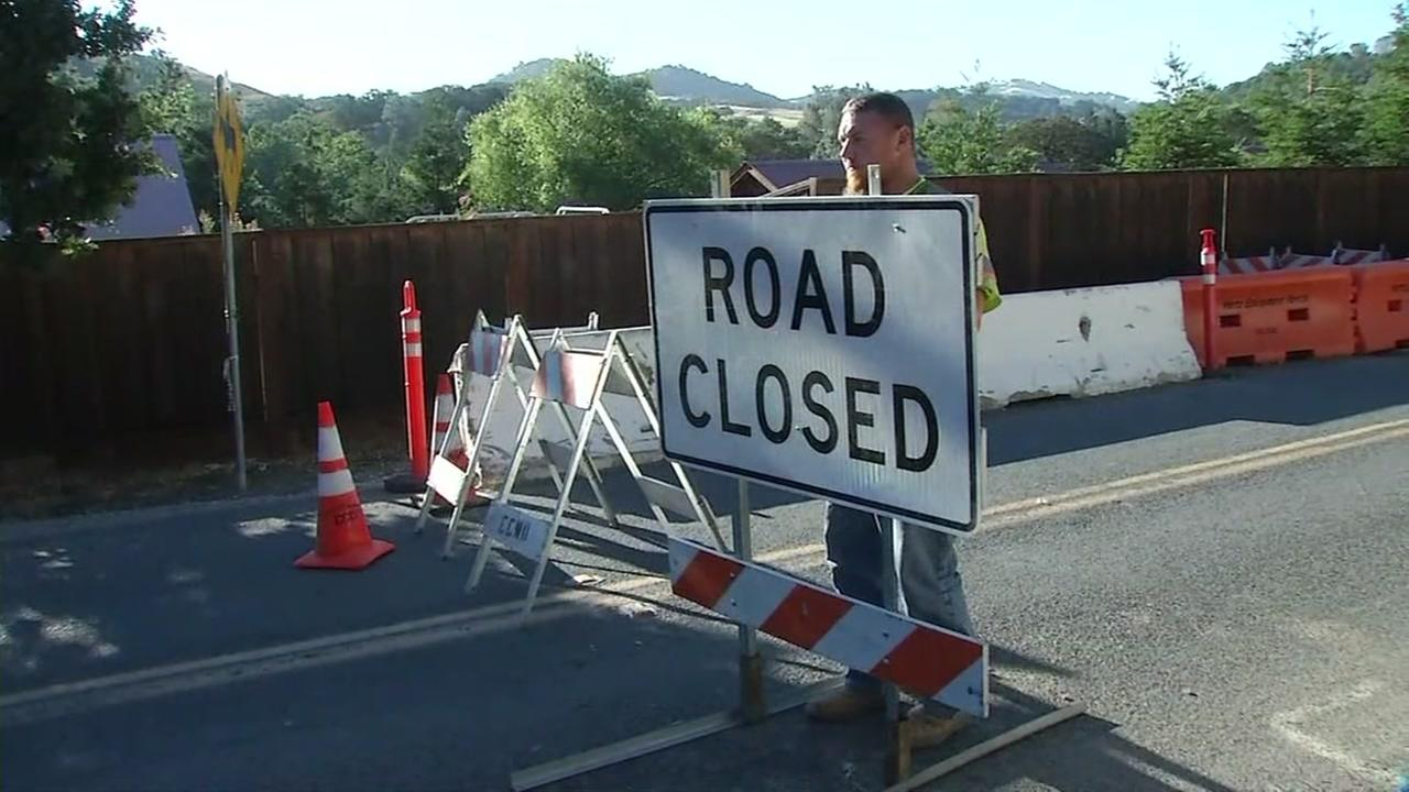 A road closed sign is seen in the middle of Territory Road in Clayton, Calif. on Monday, July 17, 2017.