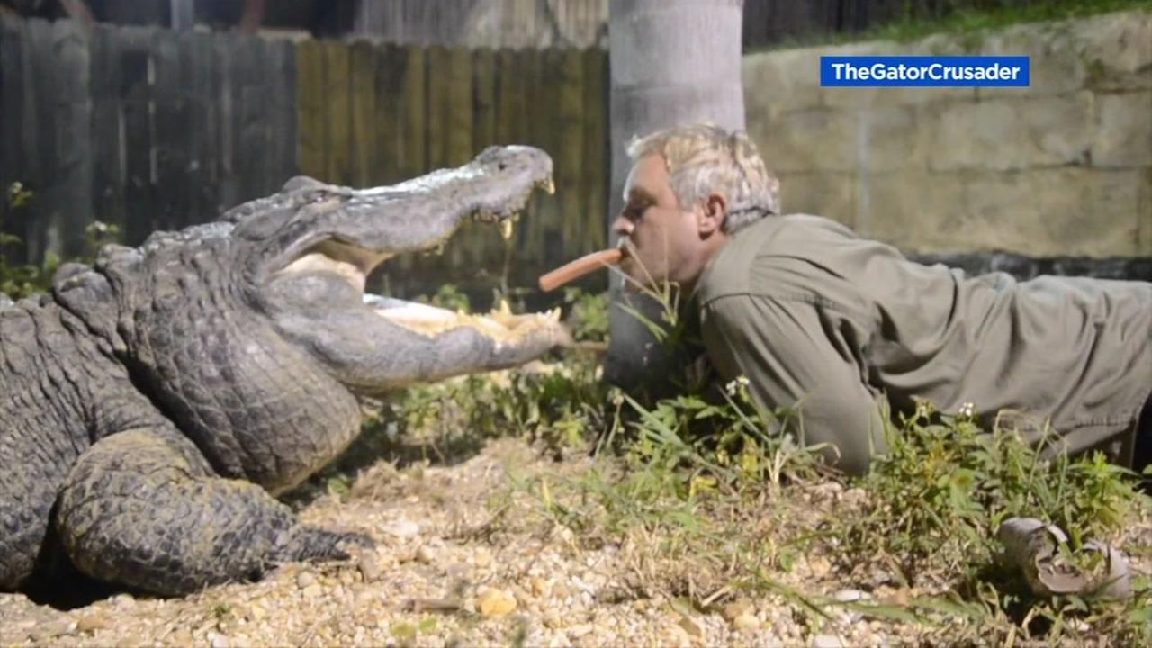 A Florida man feeds an alligator from his mouth in this undated image.