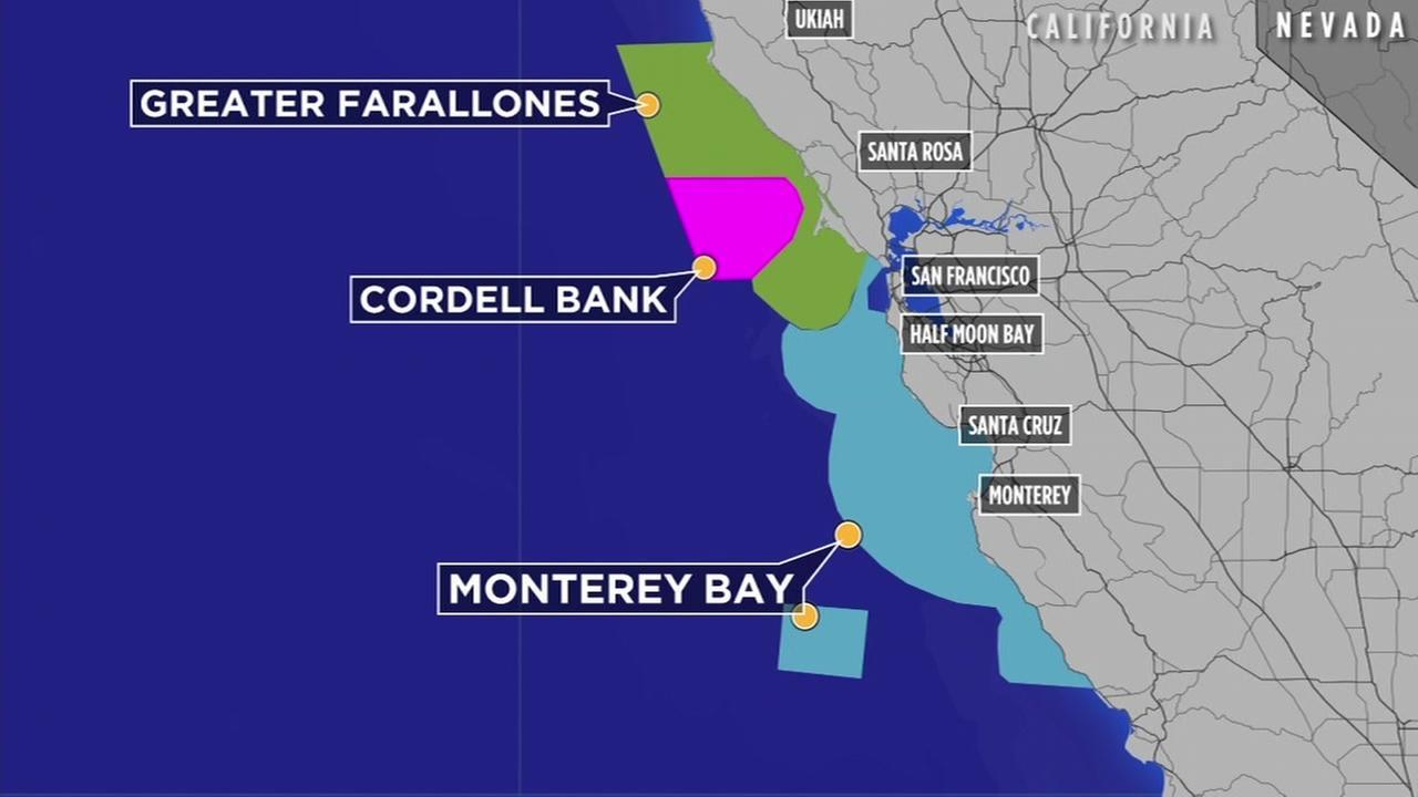 This undated image shows marine sanctuaries off the California coast.