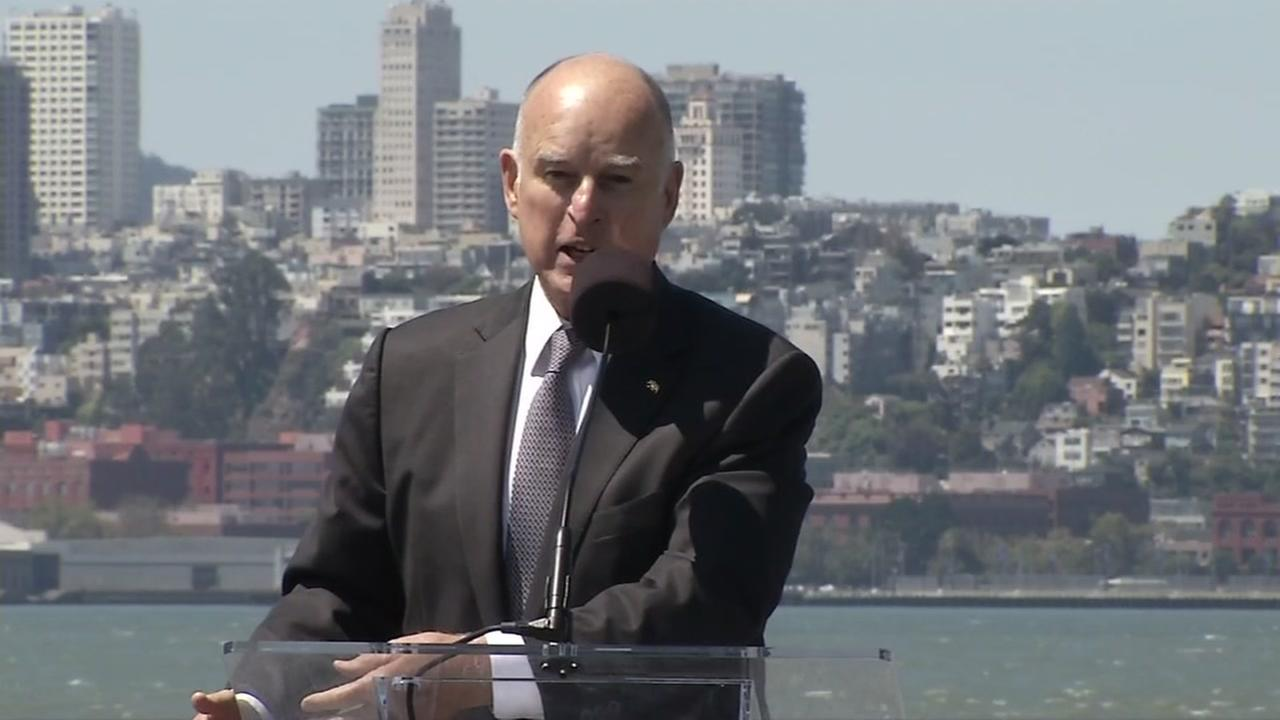 California Governor Jerry Brown is seen on Treasure Island on Tuesday, July 25, 2017.