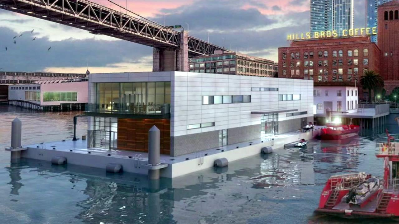 An image of a rendering for a floating fire station in San Francisco, Calif.is seen in this photo.