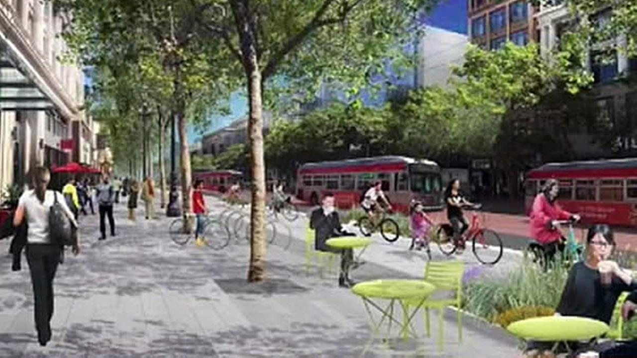 A bicyclist is seen riding on Market Street in San Francisco, Calif. in this undated rendering.