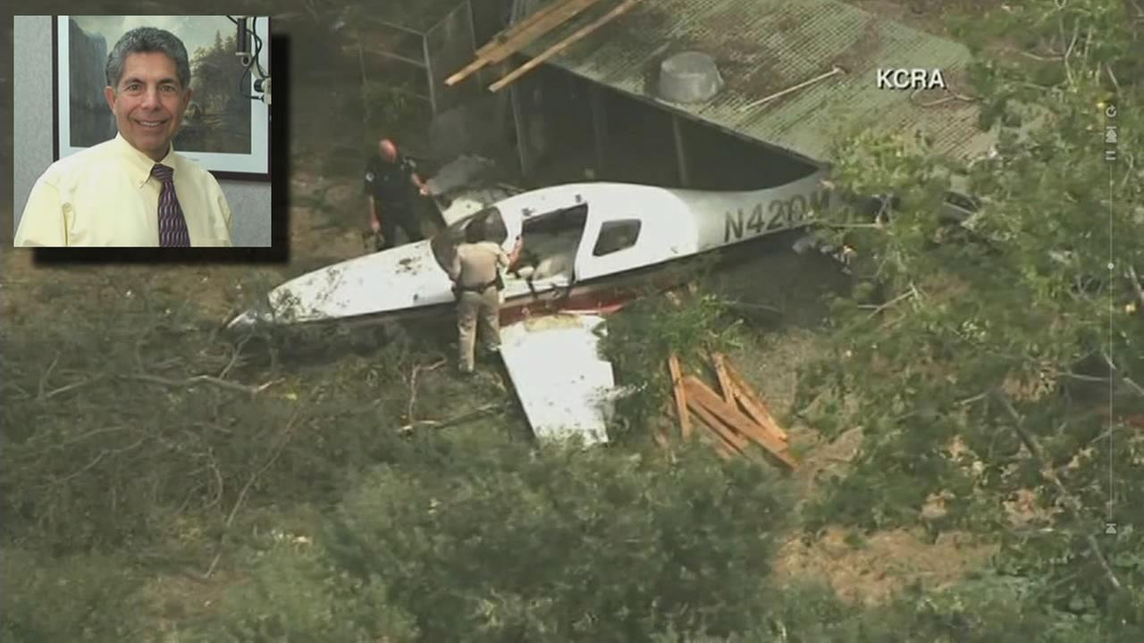 A plane is seen after it crashed in Sacramento, Calif. on Thursday, August 4, 2017.