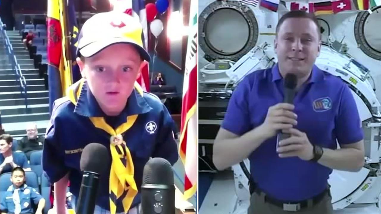 Astronaut Jack Fischer speaks to a Cub Scout on Monday, August 8, 2017 from the International Space Station.