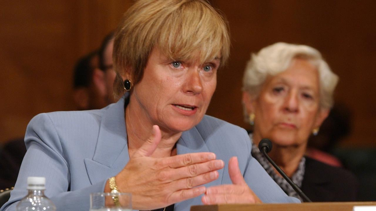 In this Aug. 2, 2007 file photo, Elizabeth Duke, of Virginia, testifies on Capitol Hill in Washington before the Senate Banking Committee. (AP Photo/Dennis Cook, file)