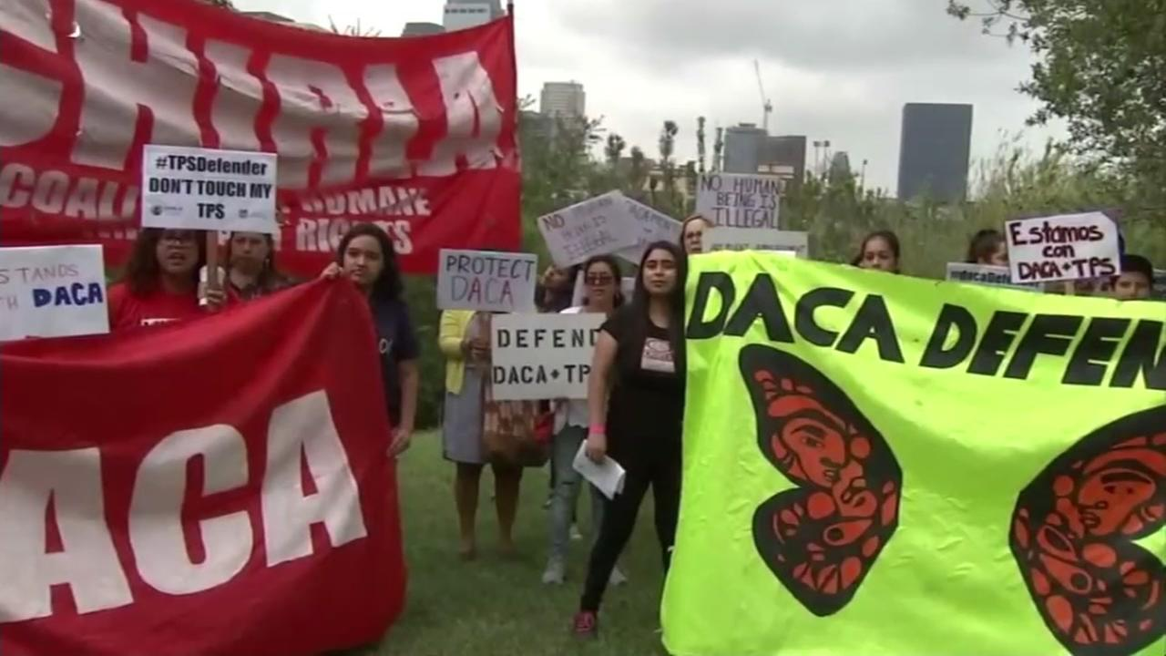 Protesters are seen advocating for DACA in this undated image.
