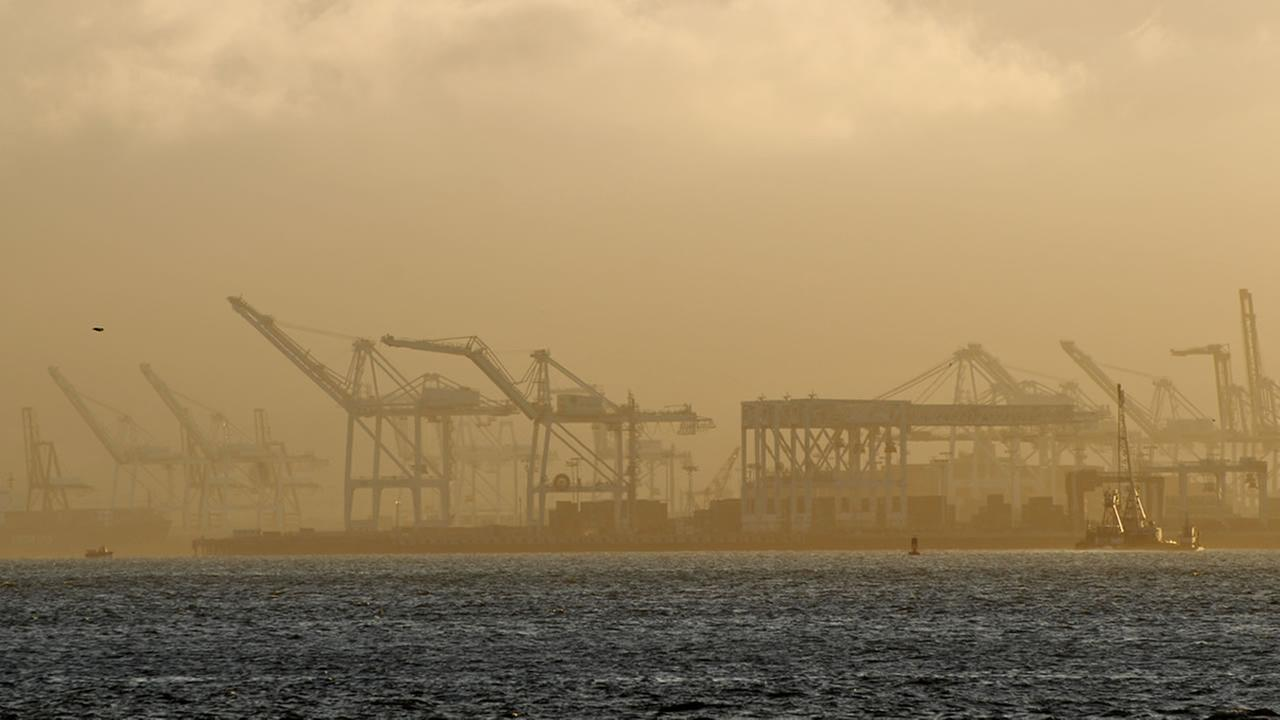 Pollution fills the air in Oakland, Calif. in this undated file photo.