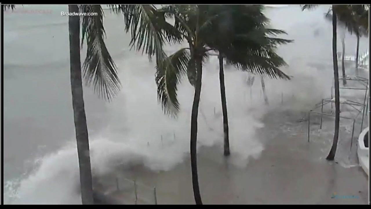 Irma is seen pounding the Florida coastline on Saturday, September 9, 2017.