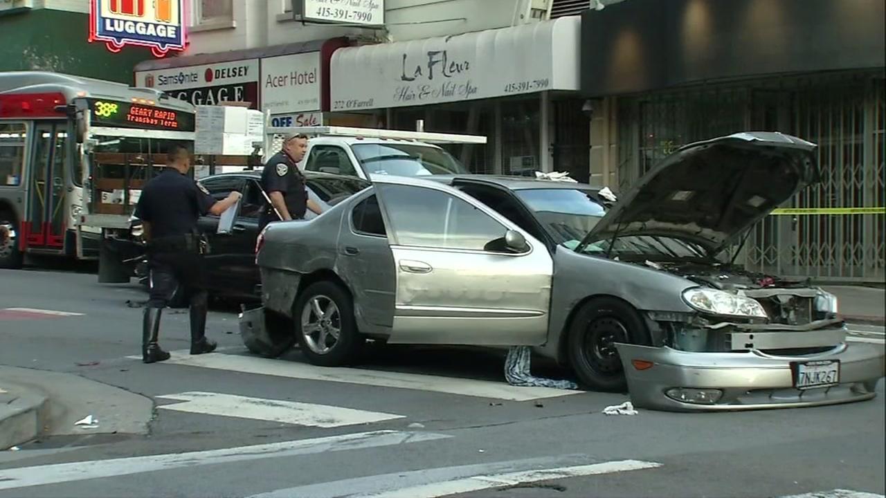 A car crash is seen on OFarrell Street in San Francisco, Calif. on Tuesday, September 12, 2017.