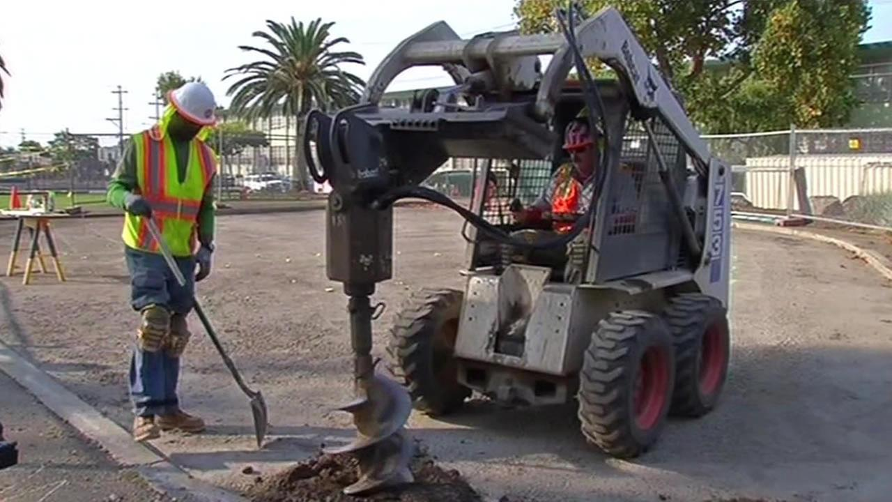 Groundbreaking began Wednesday for the playground that will be built in East Oakland thanks to a joint effort by ABC7 and Kaboom.