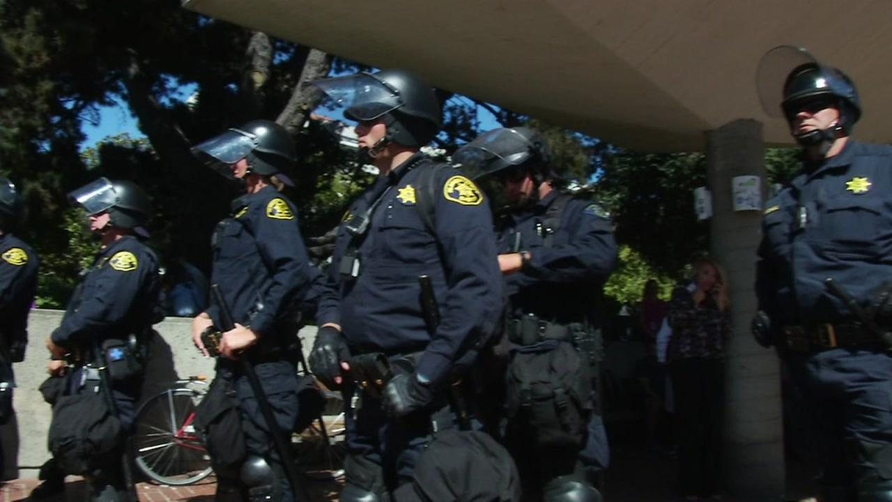 Berkeley police appear at a rally at UC Berkeley on Sept. 26, 2017.