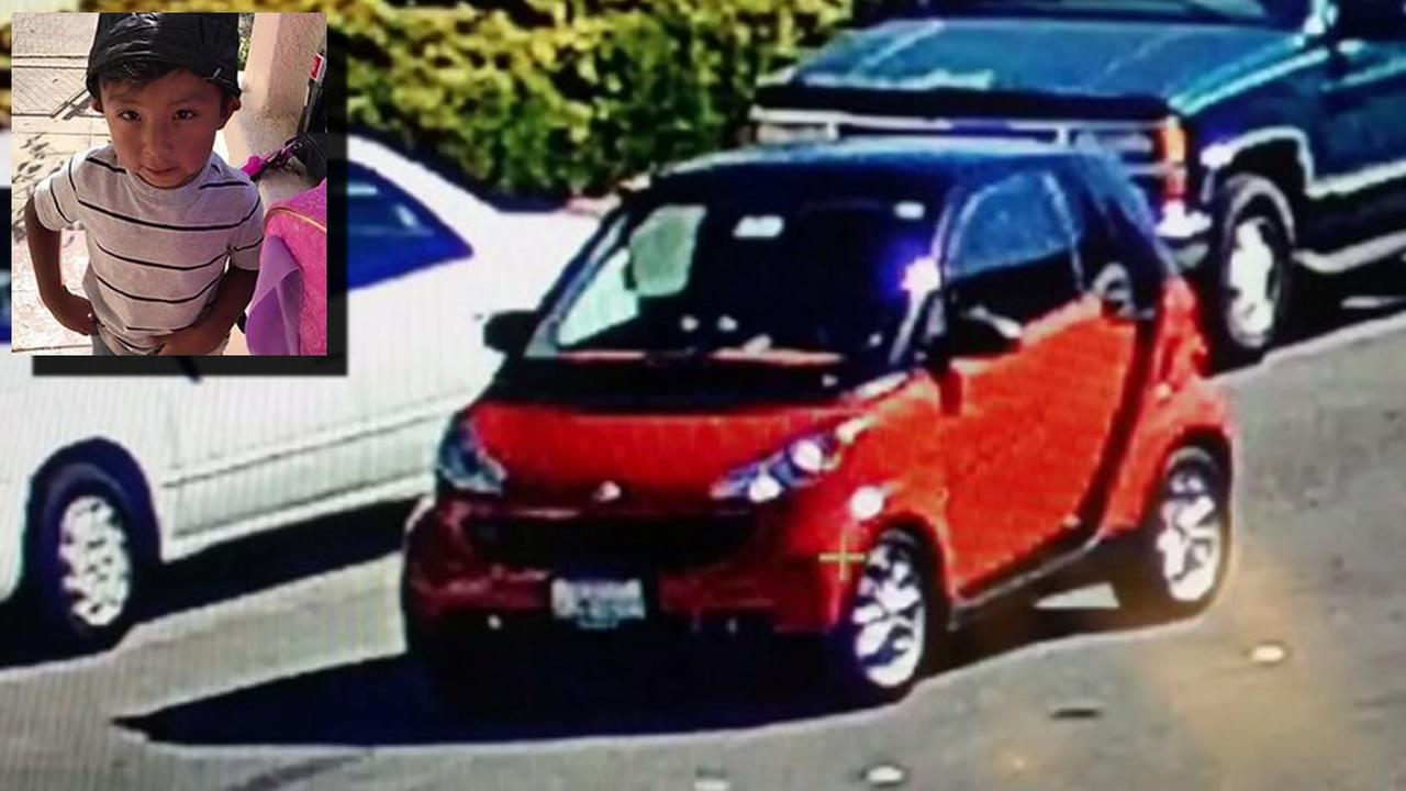 A smart car possibly involved in a hit-and-run crash that left a 3-year-old injured in Richmond, Calif. on Wednesday, September 27, 2017 is seen in this image.