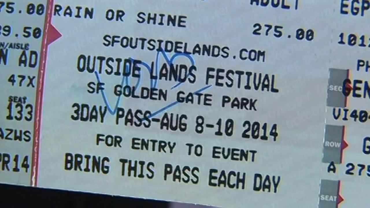 Fake Outside Lands ticket with void written on it