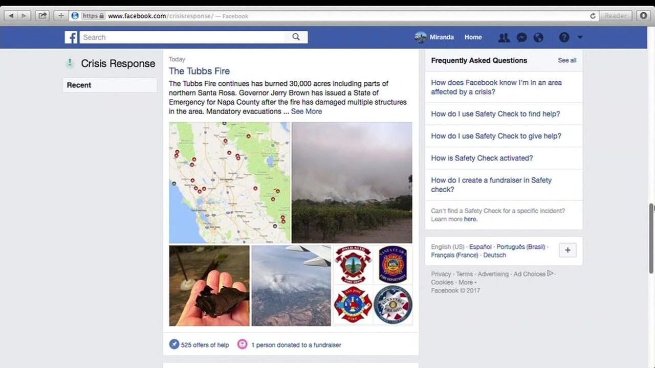 A crisis response page for the Tubbs Fire is seen on Monday, October 9, 2017.