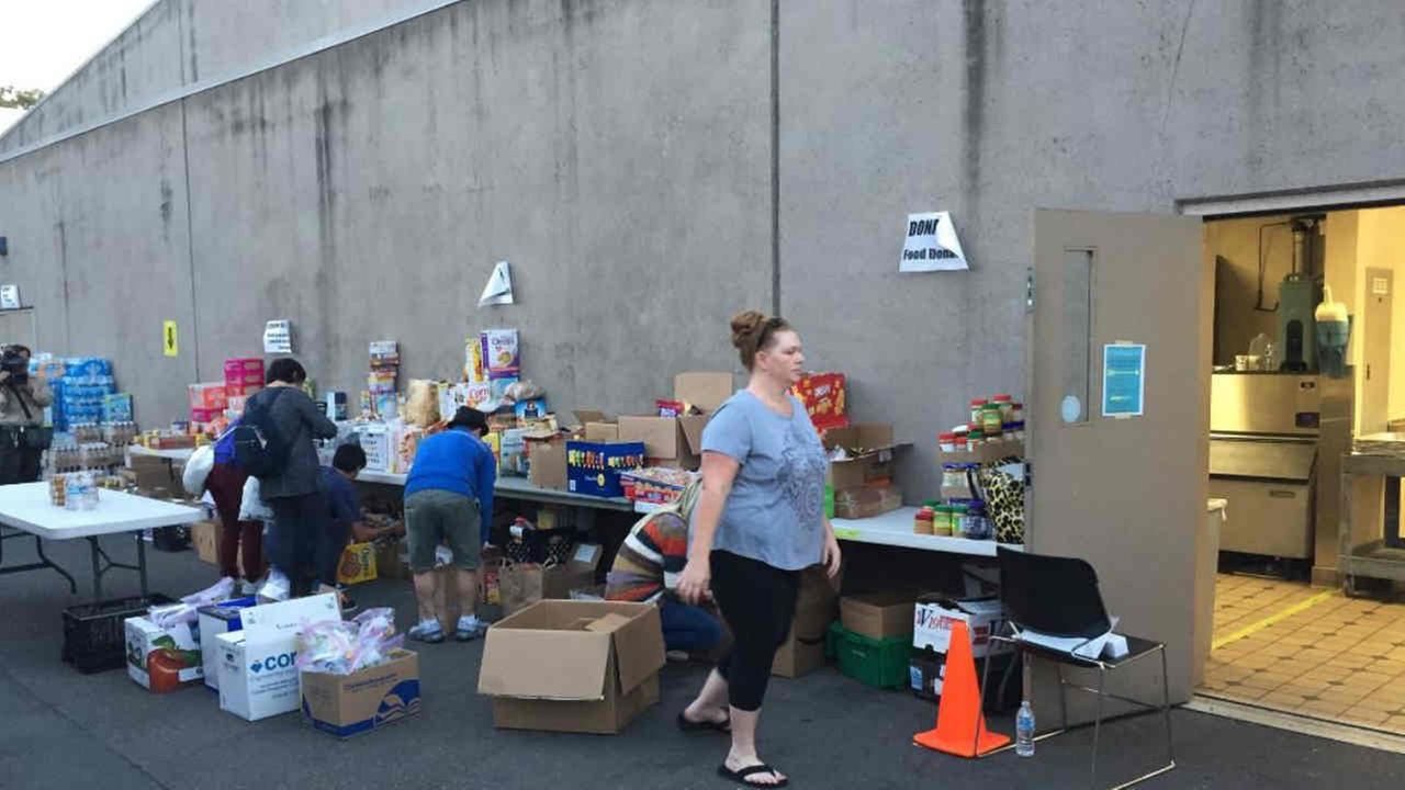 Food donations are seen in Santa Rosa, Calif. on Saturday, October 14, 2017.