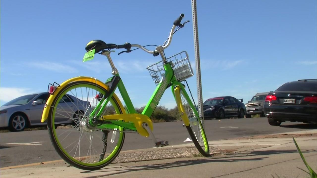 A bike-share bicycle is seen in Alameda, Calif. in this undated image.