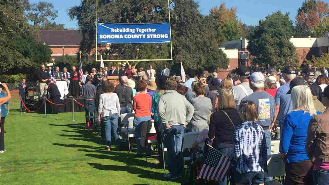 A day of remembrance is seen being held in Santa Rosa, Calif. on Saturday, October 28, 2017.